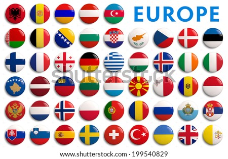 Europe national country flags - 3D - stock photo