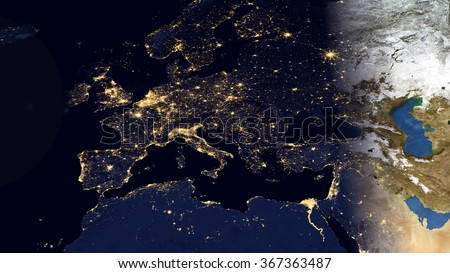Europe night space view high resolution stock illustration 367363487 europe night space view high resolution map composition elements of this image furnished by publicscrutiny Image collections