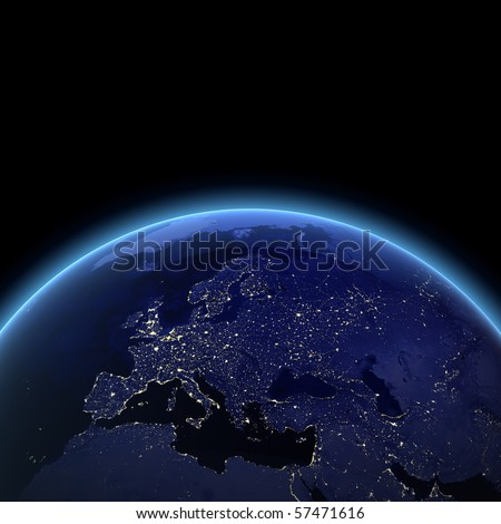 Europe night view. Maps from NASA imagery - stock photo