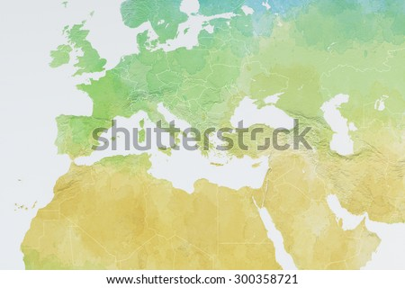 Europe, North Africa and Middle East map, designed, illustrated, brushstrokes, - stock photo