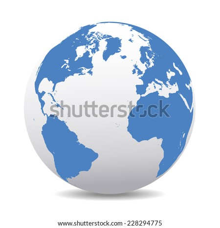 Europe, North, South America, Africa Global World - Raster Version - stock photo