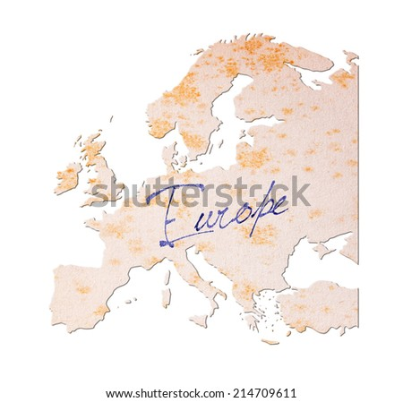 Europe - Old paper with handwriting, blue ink - stock photo