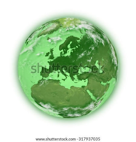 Europe on blue planet Earth isolated on white background. Highly detailed planet surface. Elements of this image furnished by NASA. - stock photo