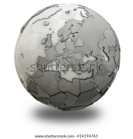 Europe on 3D model of metallic planet Earth made of steel plates with embossed countries. 3D illustration isolated on white background with shadow.