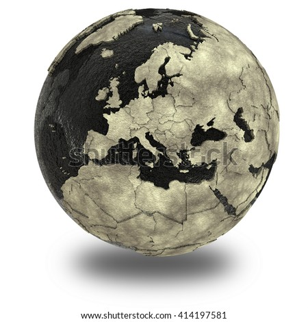 Europe on 3D model of planet Earth with black oily oceans and concrete continents with embossed countries. Concept of petroleum industry. 3D illustration isolated on white background with shadow. - stock photo