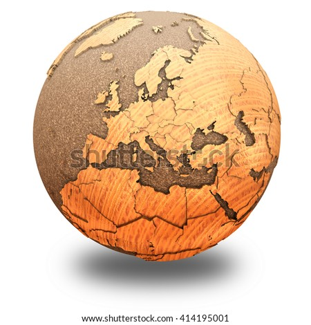 Europe on 3D model of wooden planet Earth with oceans made of cork and wooden continents with embossed countries. 3D illustration isolated on white background with shadow. - stock photo