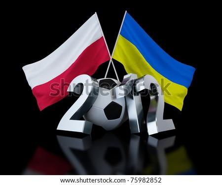 Europe on football 2012 Ukraine and Poland on black background - stock photo