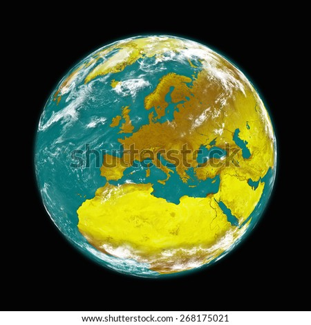 Europe on planet Earth isolated on black background. Elements of this image furnished by NASA. - stock photo