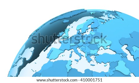 Europe on translucent model of planet Earth with visible continents blue shaded countries. 3D rendering. - stock photo