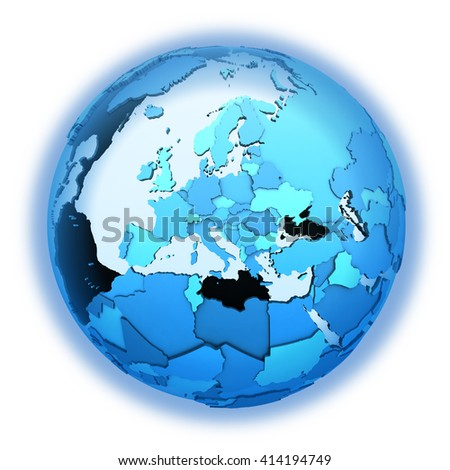 Europe on translucent model of planet Earth with visible continents blue shaded countries. 3D illustration isolated on white background with shadow. - stock photo