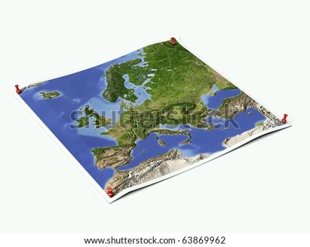 Europe on unfolded map sheet with thumbtacks. - stock photo