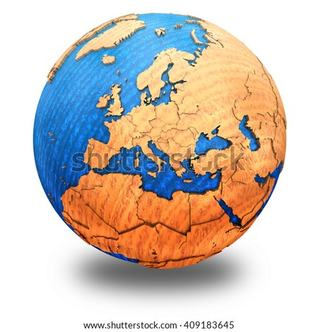 Europe on wooden model of planet Earth with embossed continents and visible country borders. 3D illustration isolated on white background with shadow. - stock photo
