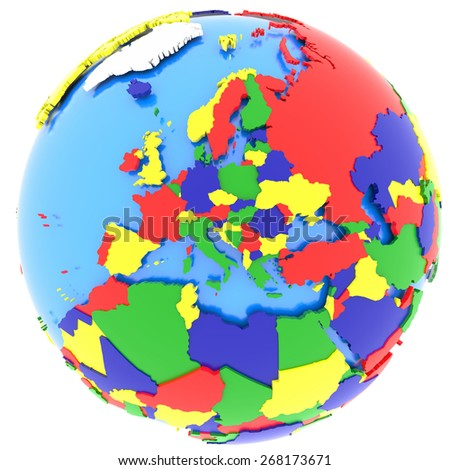 Europe, political map of the world with countries in four colors, isolated on white background.  - stock photo