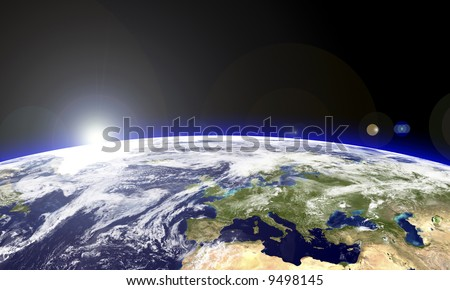 Europe seen from the space - stock photo