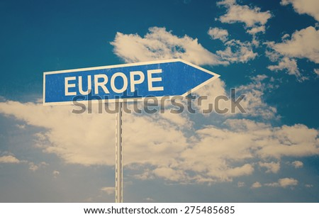 Europe sign with clouds as the background - stock photo