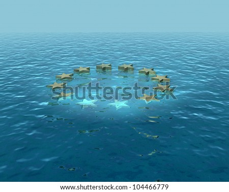 Europe sinking, going under, euro difficulties - stock photo
