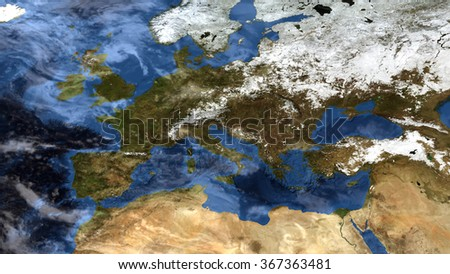 Europe Space View - High Resolution Map Composition (Elements of this image furnished by NASA) - stock photo