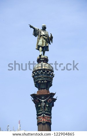 europe, spain.barcelona, Christopher Columbus' historical monument - stock photo