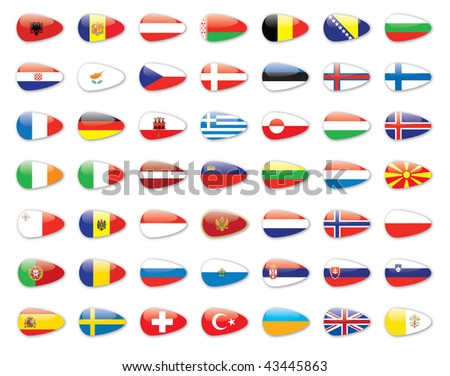 europe state flags - stock photo