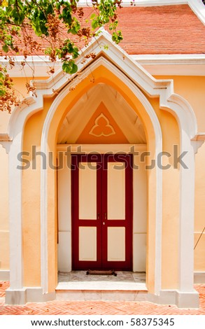 Europe style doorway, Ayutthaya - stock photo