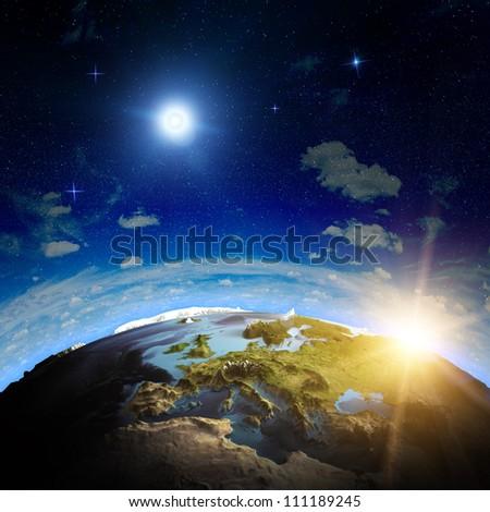Europe sunrise. Elements of this image furnished by NASA - stock photo