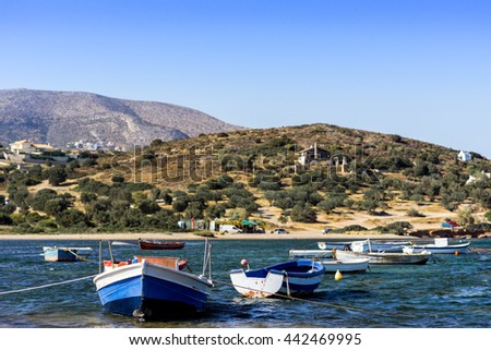 Europe, the Mediterranean Sea, Greece, Attica, Athens, Sounio. Small fishing boats off the coast in one of the bays. The beautiful nature and the sea Greece. Beautiful view - stock photo