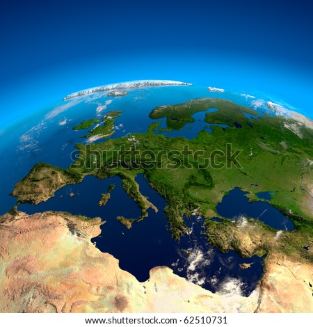 Europe, the view from the satellites - stock photo