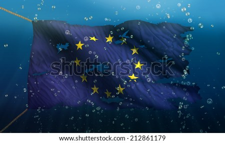 Europe Under Water Sea Flag National Torn Bubble 3D - stock photo