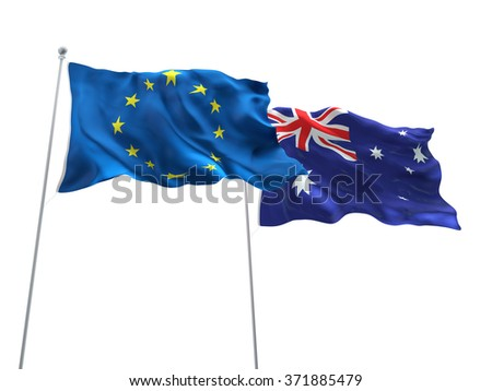Europe Union & Australia Flags are waving in the sky with dark clouds