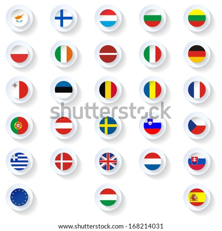 Europe union countries flags flat icons set - stock photo