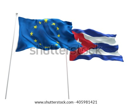 Europe Union & Cuba Flags are waving on the isolated white background