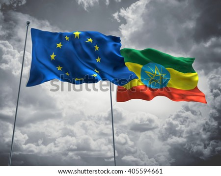 Europe Union & Ethiopia Flags are waving in the sky with dark clouds - stock photo