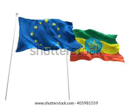 Europe Union & Ethiopia Flags are waving on the isolated white background - stock photo
