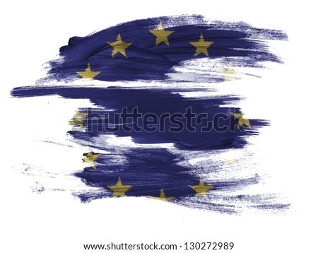 Europe Union flag painted on painted on white surface - stock photo