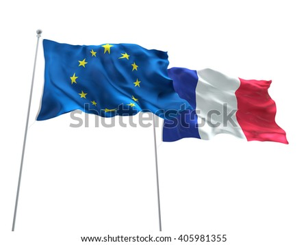 Europe Union & France Flags are waving on the isolated white background - stock photo