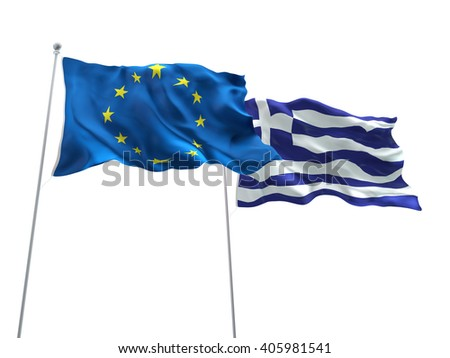 Europe Union & Greece Flags are waving on the isolated white background