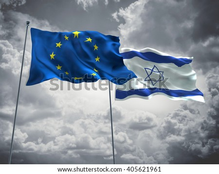 Europe Union & Israel Flags are waving in the sky with dark clouds - stock photo