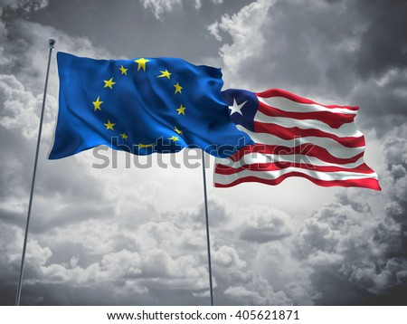 Europe Union & Liberia Flags are waving in the sky with dark clouds