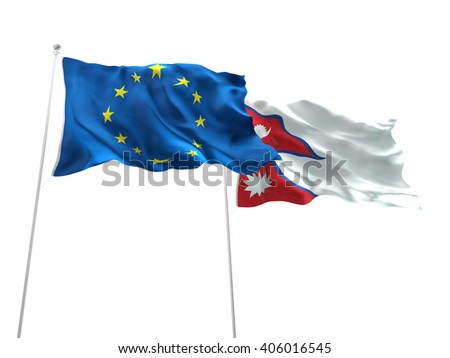 Europe Union & Nepal Flags are waving on the isolated white background - stock photo