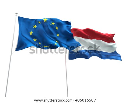 Europe Union & Netherlands Flags are waving on the isolated white background