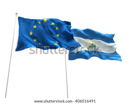 Europe Union & Nicaragua Flags are waving on the isolated white background