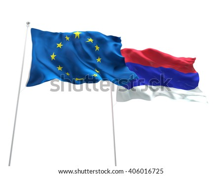 Europe Union & Republika Srpska Flags are waving on the isolated white background
