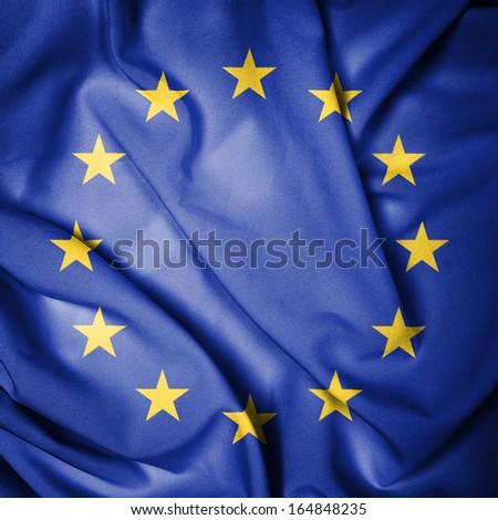 Europe Union Waving Flag - stock photo