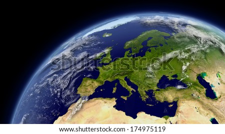 Europe viewed from space with atmosphere and clouds. Elements of this image furnished by NASA. - stock photo