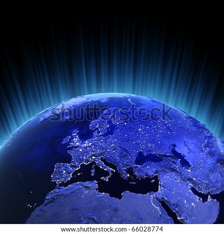 Europe volume 3d render. Maps from NASA imagery - stock photo