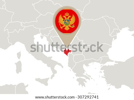 Europe with highlighted Montenegro map and flag, Rasterized Copy - stock photo