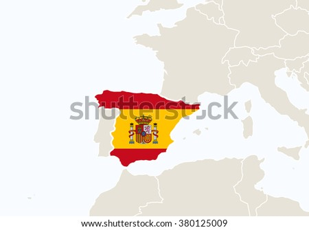 Europe with highlighted Spain map. Rasterized Copy.  - stock photo