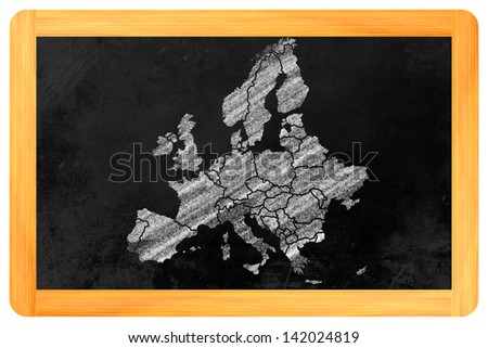 Europe with its single countries drawn on a blackboard - stock photo