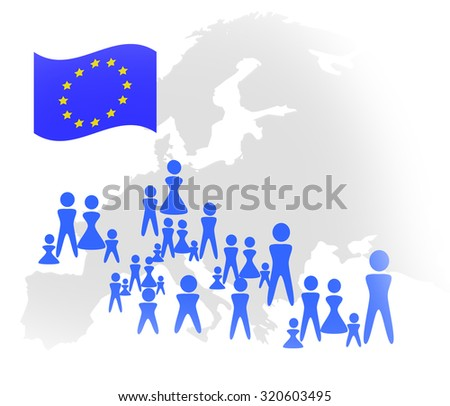 Europe with peoples icons - refugees and immigration issue concept - stock photo
