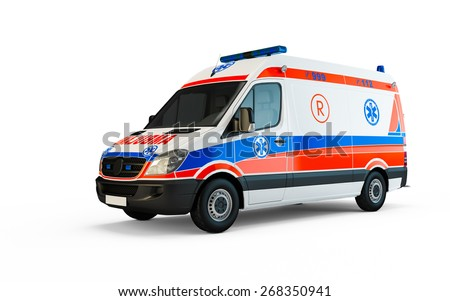European Ambulance isolated on a white background - stock photo